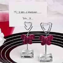 Pink Gingham Butterfly Design Place Card Holder